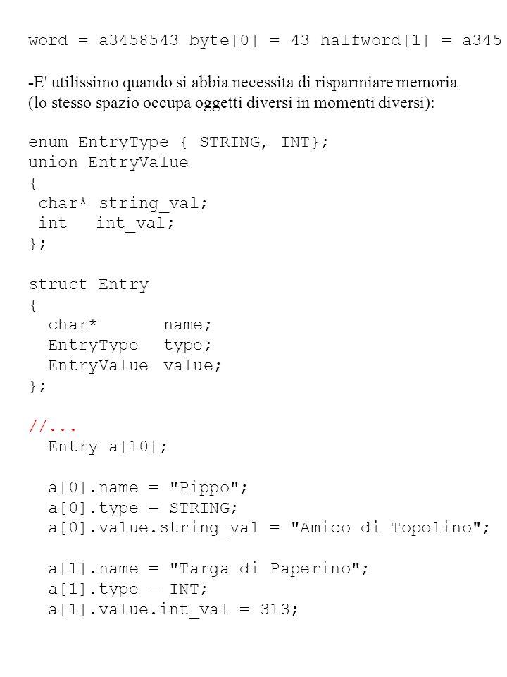 word = a3458543 byte[0] = 43 halfword[1] = a345